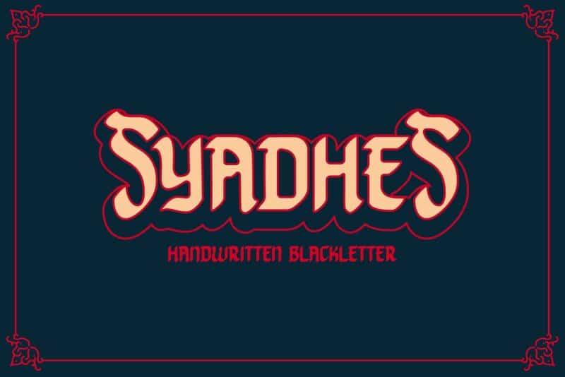 Syadhes шрифт скачать бесплатно